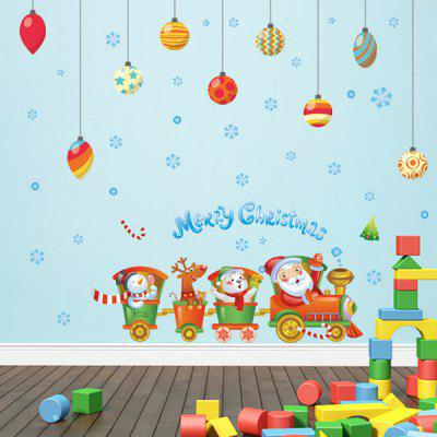Buy COLORFUL Merry Christmas Cartoon Train DIY Window Home Decor Wall Stickers for $5.28 in GearBest store