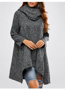 Hooded Asymmetric Loose Sweater
