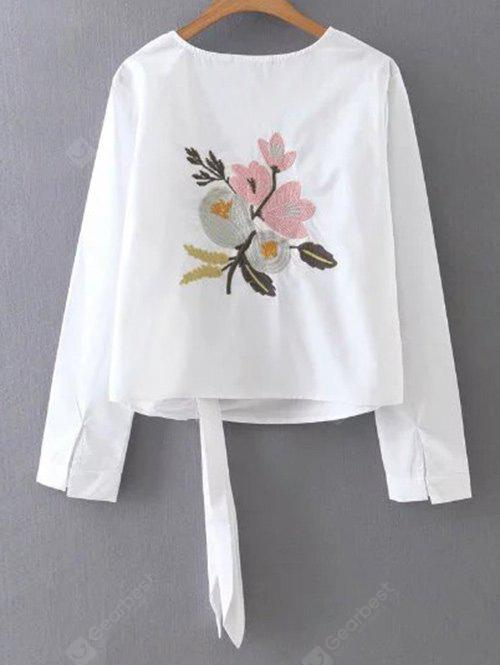 Floral Embroidery Tie Blouse