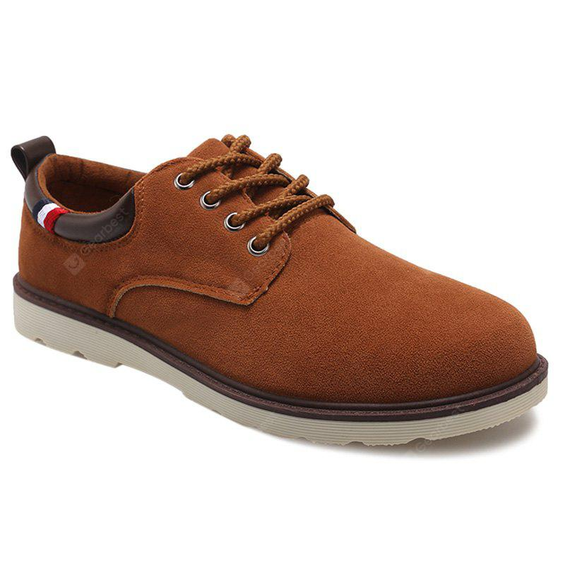 LIGHT BROWN Suede Eyelet Casual Shoes