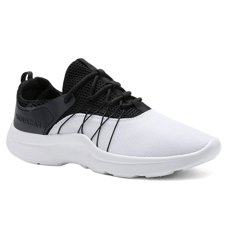 WHITE Lace Up Mesh Athletic Shoes