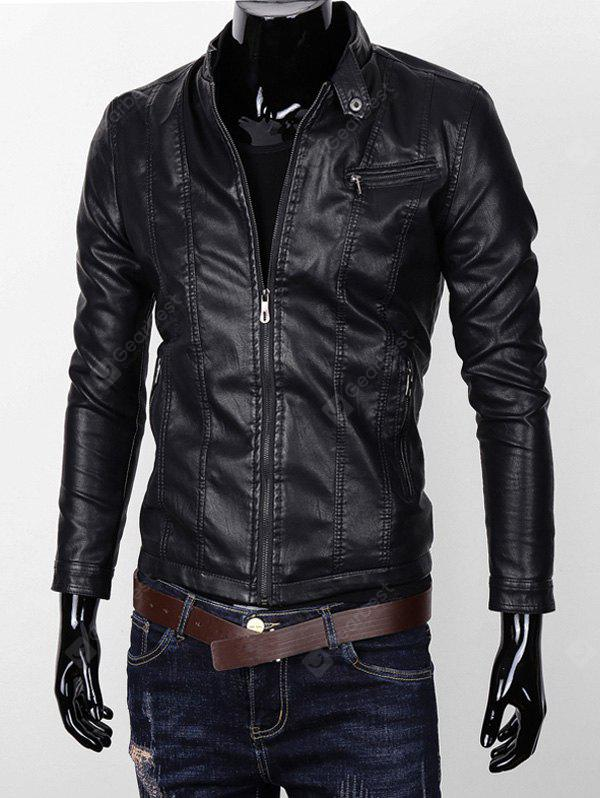 Stand Collare Pocket Zipper Faux Leather Jacket