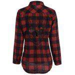 Plus Size Halloween Back Skull Pattern Plaid Shirt - CHECKED