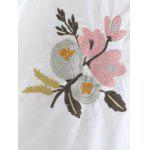 Floral Embroidery Tie Blouse - WHITE