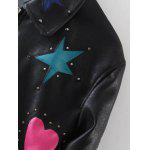 Rivet Star Moon Patched Bomber Jacket - BLACK