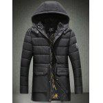 Patch Design Flap Pocket Hooded Padded Coat - BLACK