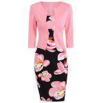 Floral Knee Length Pencil Fitted Work Dress - PINK