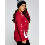 Plus Size Snowflake Fawn Christmas Sweater - RED