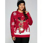 Plus Size Snowflake Reindeer Christmas Sweater - RED