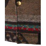 Vintage Button Up Stand collare Giacca jacquard - MARRONE