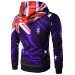 cheap Hooded 3D Flag of Australia Print Purple Hoodie