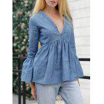 Jean Bell Sleeve Peplum Ruched Blouse - BLUE