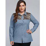 cheap Plus Size Leopard Trim Denim Shirt