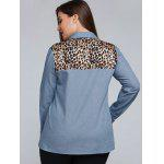 Plus Size Leopard Trim Denim Shirt for sale