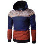 Hooded Color Block Spliced Distressed Print Hoodie - COLORMIX