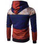 Hooded Color Block Spliced Distressed Print Spliced Hoodie - COLORMIX