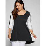 Buy Plus Size Color Block Longline Top 3XL WHITE AND BLACK