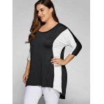 Plus Size Color Block Longline-Top - WEIß & SCHWARZ