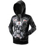 Skull 3D Print Drawstring Zip Up Hoodie - BLACK