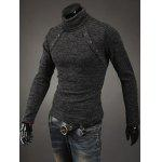 Buy Button Embellished Turtleneck Sweater L DEEP GRAY