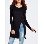 Front Slit Long Knit Sweater - BLACK