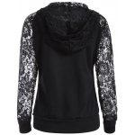 Lace Spliced ​​Lace Up Hoodie - SCHWARZ