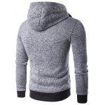 Hooded Double Zipper Drawstring Hoodie - LIGHT GRAY