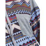 Tribal Print Raglan Sleeves Pocket Hoodie for sale