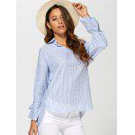 Pinstriped High Low Blouse - LIGHT BLUE