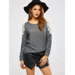 Lacework Splicing Cold Shoulder Sweatshirt - DEEP GRAY