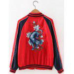cheap Animal Embroidered Zip Souvenir Jacket
