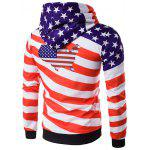 3D USA Flag Star Printed Pullover Hoodie - RED