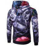 cheap 3D Devil Women Flower Printed Long Sleeve Hoodie