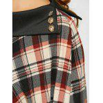 Side Collar Plaid Cape Blouse - CHECKED