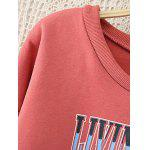 cheap Lace Up Sleeve Graphic Fleeced Sweatshirt