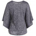 Bat-Wing Sleeve Loose Tie-Dyed Blouse - GRAY
