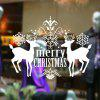 Merry Christmas Deer Pattern Wall Stickers Showcase Decoration - WHITE