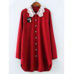 Plus Size Owl Lace Crochet Collar Tunic Shirt - WINE RED