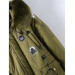 Buy Plus Size Patched Fur Hooded Parka Coat 2XL ARMY GREEN