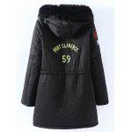 Buy Plus Size Patched Fur Hooded Parka Coat 2XL BLACK