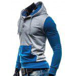 Fashion Hooded Two Color Splicing Button Design Slimming Long Sleeve Cotton Blend Hoodie For Men deal