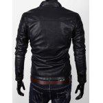 Stand Collare Pocket Zipper Faux Leather Jacket - NERO