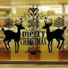 Merry Christmas Deer Pattern Wall Stickers Showcase Decoration - BLACK
