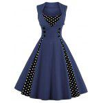 Midi Polka Dot Prom Rockabilly Swing Vintage Prom Dresses - PURPLISH BLUE