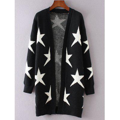 Collarless Two-Tone Star Long Cardigan