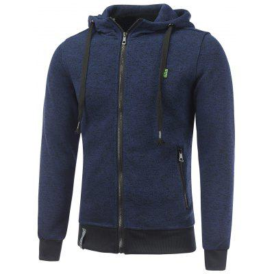 Applique Pocket Zipped Fleece Hoodie