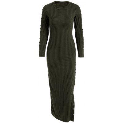 Buy BLACKISH GREEN Slit Ribbed Maxi Long Sleeve Winter Sweater Dress for $21.84 in GearBest store