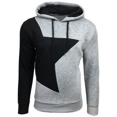 Color Block Star Splicing Hoodie
