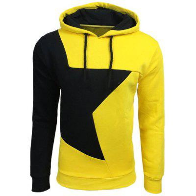 Color Block Star Splicing Yellow Hoodie