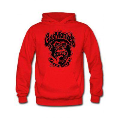 Buy RED WITH BLACK Orangutan and Graphic Print Black Red Hoodie for $9.20 in GearBest store